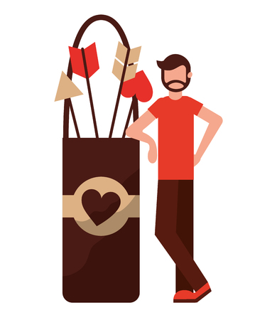 man with cupid arrows happy valentines day vector illustration
