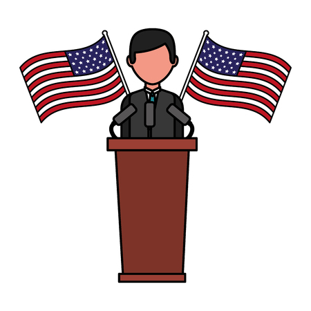american president on the podium with flags happy presidents day vector illustration Vectores