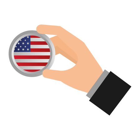 hand with american flag button happy presidents day vector illustration