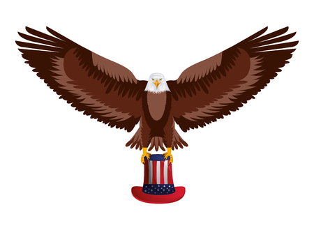 flying eagle with hat american flag happy presidents day vector illustration