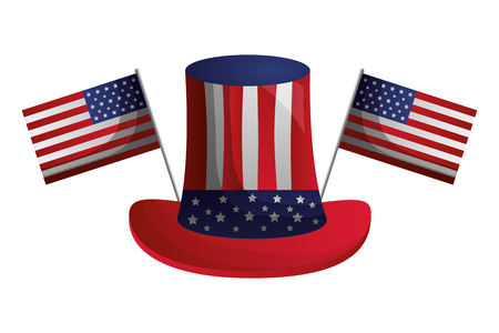 hat with american flags happy presidents day vector illustration Vector Illustration