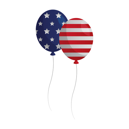 balloons with american flag happy presidents day vector illustration