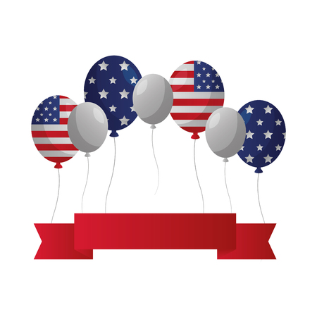 drapeau américain, bannière, ballons, heureux, présidents, jour, vecteur, illustration Vecteurs