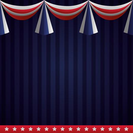 Backgrund garland bandera americana feliz día de los presidentes ilustración vectorial