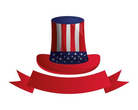 hat american flag ribbon happy presidents day vector illustration
