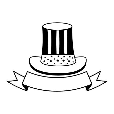 hat american flag ribbon happy presidents day vector illustration Vector Illustration