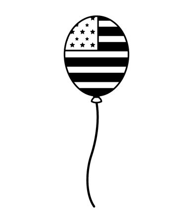 balloon with american flag happy presidents day vector illustration