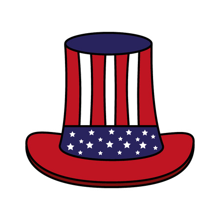 top hat with american flag happy presidents day vector illustration