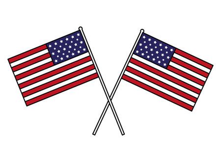 crossed american flags happy presidents day vector illustration