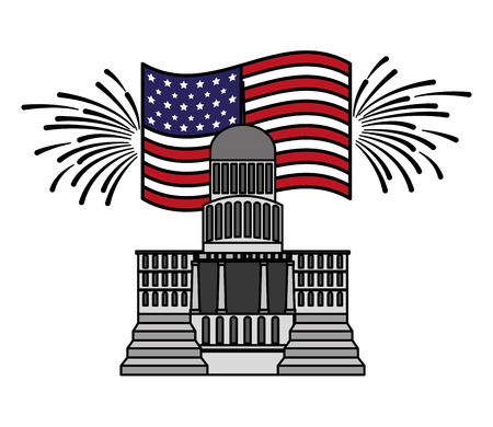 washington capitol building american flags happy presidents day vector illustration