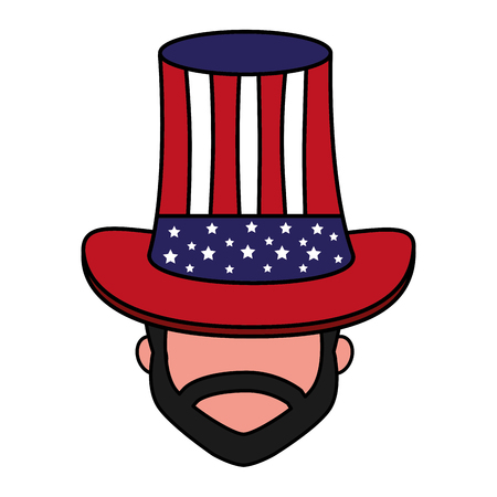 sam with hat american flag happy presidents day vector illustration