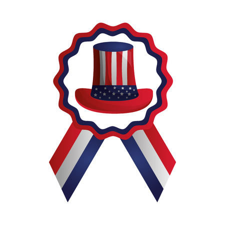 american flag rosette hat emblem happy presidents day vector illustration