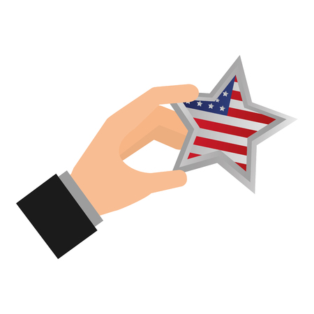 hand with american flag star happy presidents day vector illustration