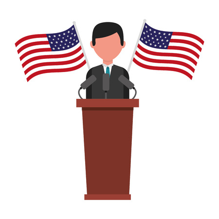 american president on the podium with flags happy presidents day vector illustration Ilustrace