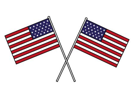 drapeaux américains croisés heureux présidents day vector illustration
