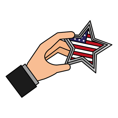 hand with american flag star happy presidents day vector illustration vector illustration