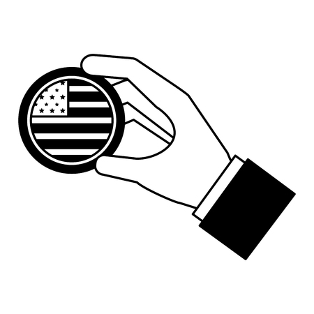 hand with american flag button happy presidents day vector illustration vector illustration  イラスト・ベクター素材