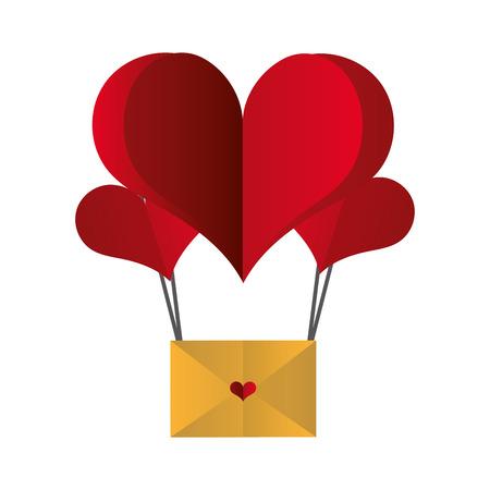 paper heart balloon mail happy valentines day vector illustration Stock Illustratie