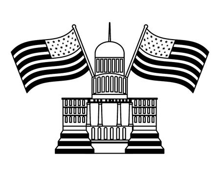Washington Capitol Building banderas americanas feliz día de los presidentes ilustración vectorial