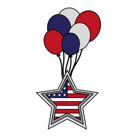 star with american flag and balloons happy presidents day vector illustration Reklamní fotografie - 126306932