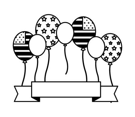 Bandera americana globos banner feliz día de los presidentes ilustración vectorial