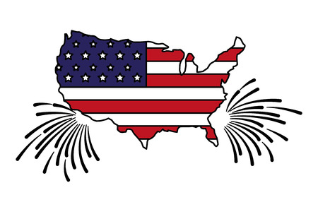 united states map flag fireworks happy presidents day vector illustration