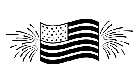 american flag with fireworks happy presidents day vector illustration