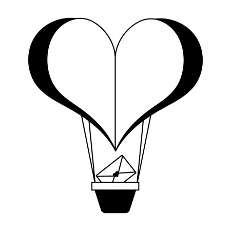 heart shaped air balloon mail happy valentines day vector illustration