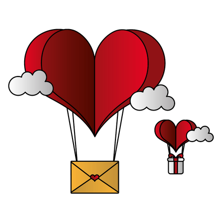 paper heart balloon mail gift happy valentines day vector illustration Stockfoto - 126306965