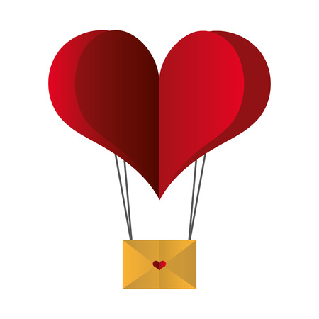 paper heart balloon mail happy valentines day vector illustration Stockfoto - 126306996