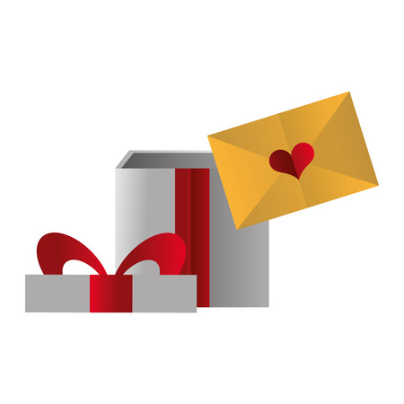 gift box and mail happy valentines day vector illustration