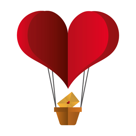 heart shaped air balloon mail happy valentines day vector illustration Vector Illustration