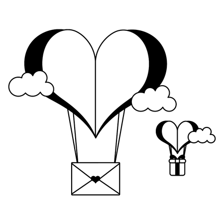 paper heart balloon mail gift happy valentines day vector illustration