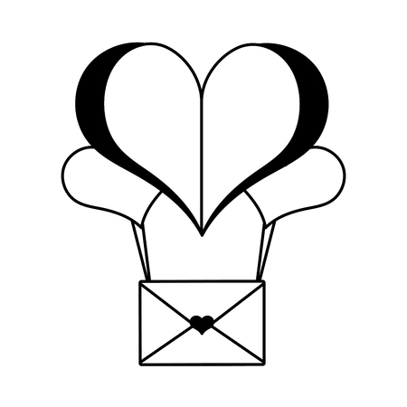 paper heart balloon mail happy valentines day vector illustration Illustration