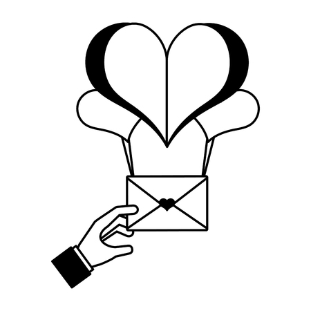hand and mail balloons hearts happy valentines day vector illustration