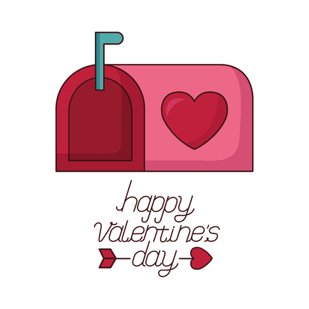 mail box message happy valentines day vector illustration