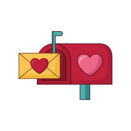 mail box message envelope happy valentines day vector illustration Stock Vector - 115130021