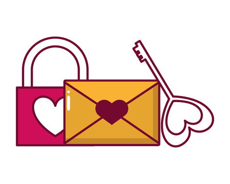 padlock mail and key love happy valentines day vector illustration Stok Fotoğraf - 126307082