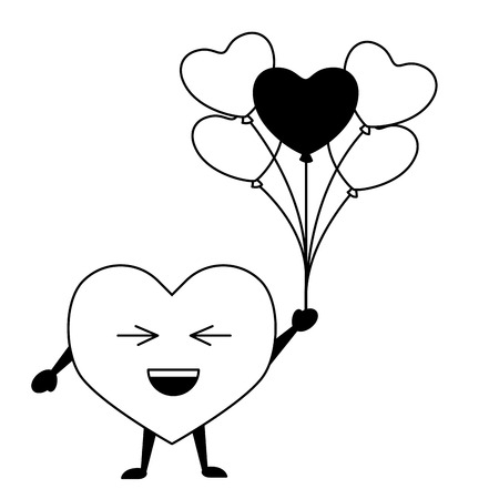 kawaii heart with balloons happy valentines day vector illustration