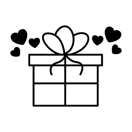 wrapped gift box hearts valentine day vector illustration Ilustrace