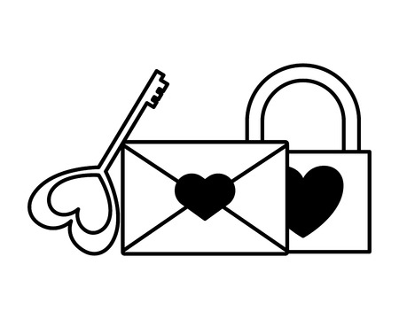 padlock mail and key love happy valentines day vector illustration