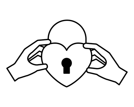 hands with padlock heart happy valentines day vector illustration Archivio Fotografico - 126307113