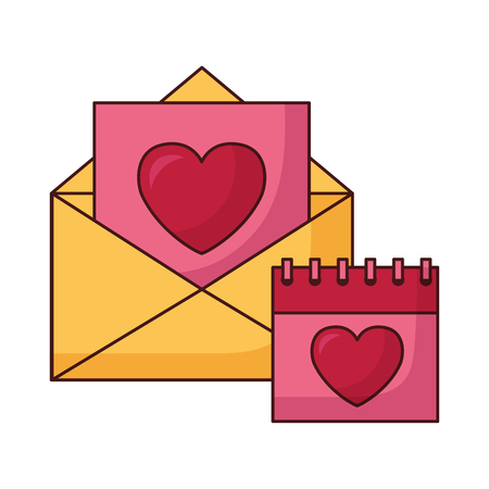 mail and calendar happy valentines day vector illustration