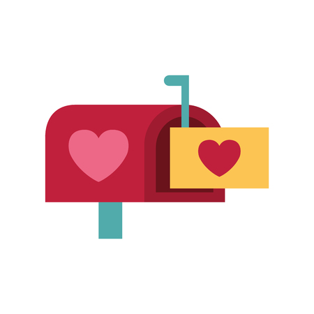 mail box message envelope happy valentines day vector illustration Иллюстрация