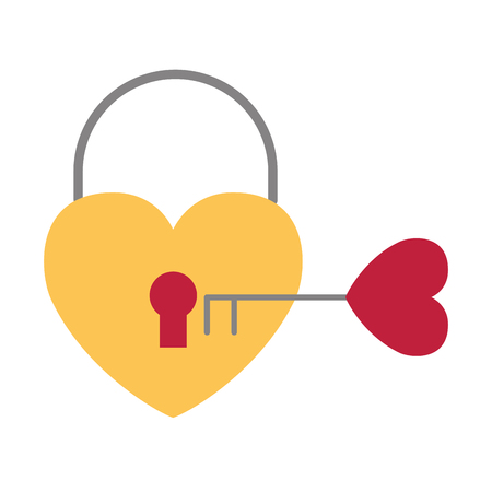 padlcok heart and key love happy valentines day vector illustration