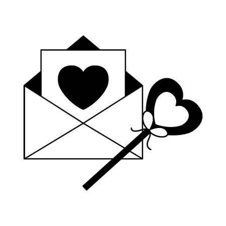 mail lollipop heart happy valentines day vector illustration Illustration