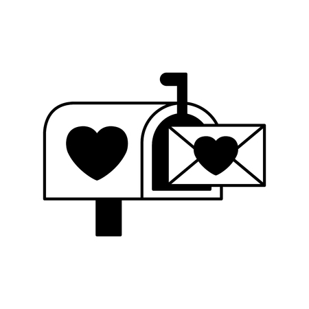 mail box message envelope happy valentines day vector illustration Stock Vector - 115131560