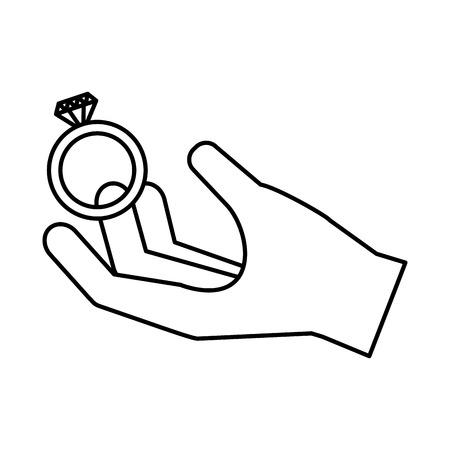 hand with wedding ring happy valentines day vector illustration Foto de archivo - 126307166