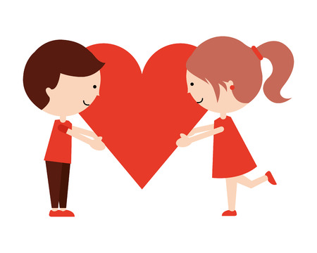 cute kids with heart happy valentines day vector illustration