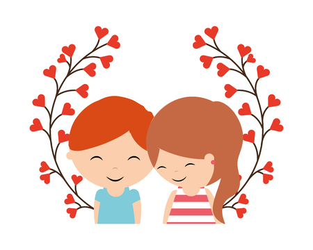 cute couple flowers wreath happy valentines day vector illustration Иллюстрация